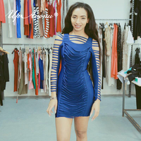 Women dress summer 2018 evening party bodycon long sleeve hollow out sexy vestidos mini celebrity club bandage dress MD177
