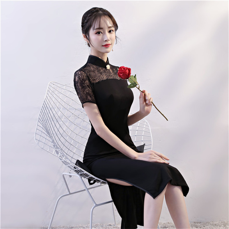 Black Vintage Women Chinese Slim Dress Novelty Roman Cloth Lace Sexy Qipao  Elegant Mandarin Collar Knee Length Cheongsam-in Dresses from Women s  Clothing on ... 1181e649df99