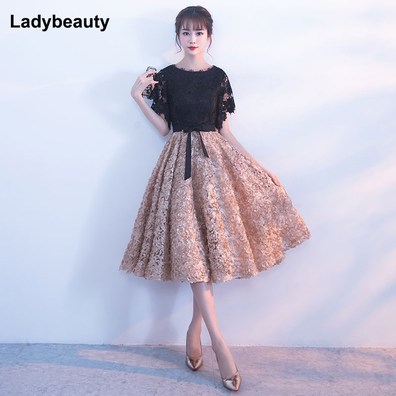 Ladybeauty 2018 New Evening Dress Black With Khaki Color Lace short Prom Party Gowns Wedding plus