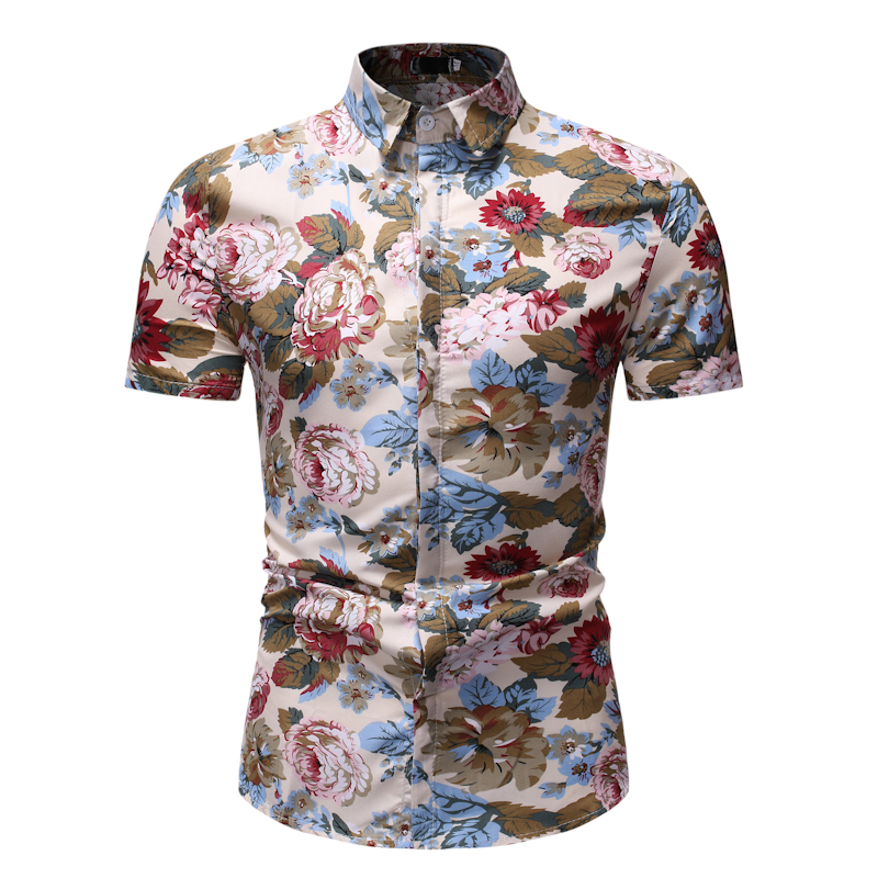 Men Shirt New Summer Slim Fit Short Sleeve Floral Shirt Dress Mens Clothing Trend Plus Size Mens Casual Beach HawaiianShirts in Casual Shirts from Men 39 s Clothing