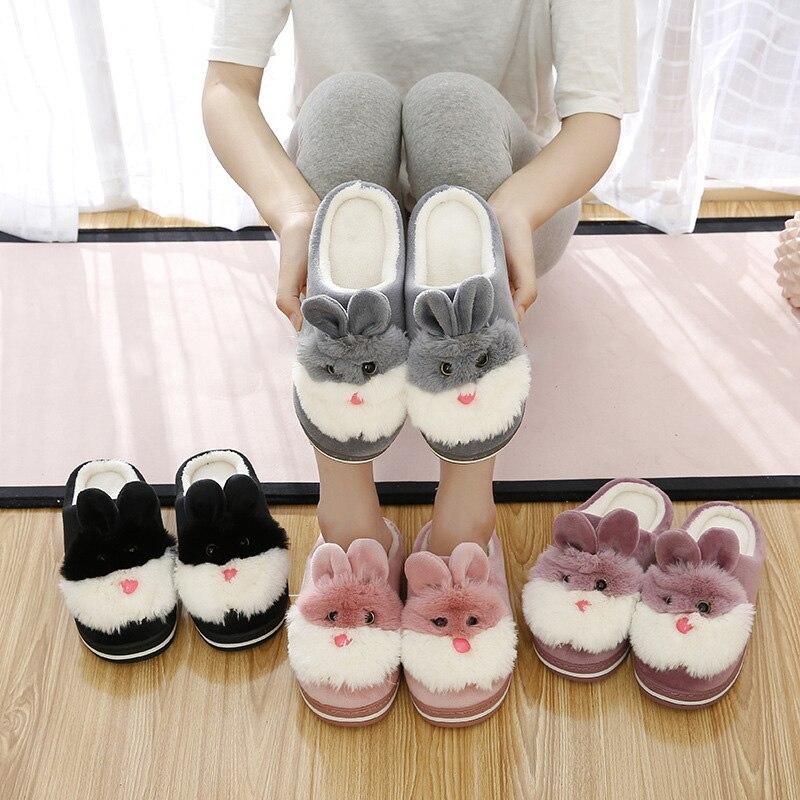 Women  Indoor Cotton Slippers Ladies Winter Non-slip Rabbit Student Girl Cartoon Home Winter Shoes Warm Slippers
