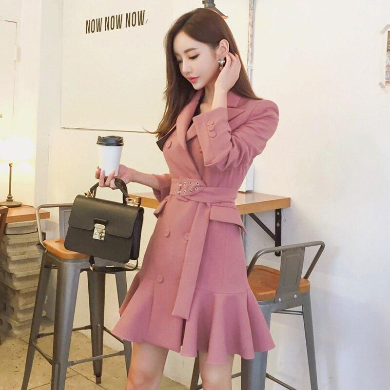Automne printemps 2019 femmes manches longues Trench robe Vintage mode mi-longue Double-boutonnage volants Blazer robe Trench vêtements d'extérieur - 2