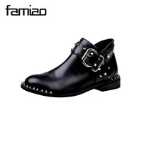 FAMIAO Rivet boots flat with women motorcycle boots buckle strap round toe rome hip hop spring party shoes gladiator ladies
