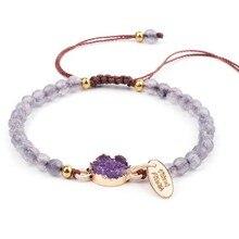 2 шт./компл. натуральный фиолетовый камень бисер браслет женский ручной работы 4 мм браслет из бисера с каменные подвесные украшения женские ручной работы Boho060