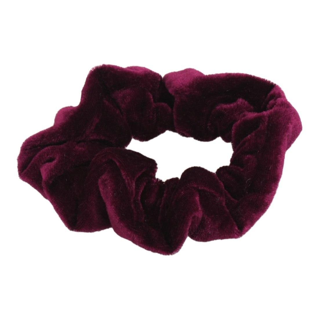 Burgundy Velvet Elastic Hair Tie Band Ponytail Holder for Women