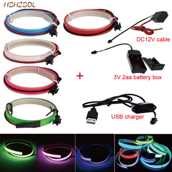 цена на 2aa 3V battery 5V USB or dc12v 5color Neon Light Glow EL Wire Rope tape Cable Strip LED cold Light Cap Car decorate ribbon lamp