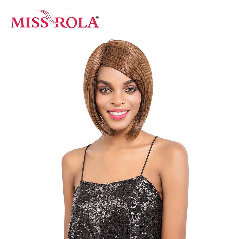 Мисс Рола короткие прямые синтетические парики волос 2-10 дюймов Kanekalon высокой Температура волокна блондинка 2730 # для Для женщин ...