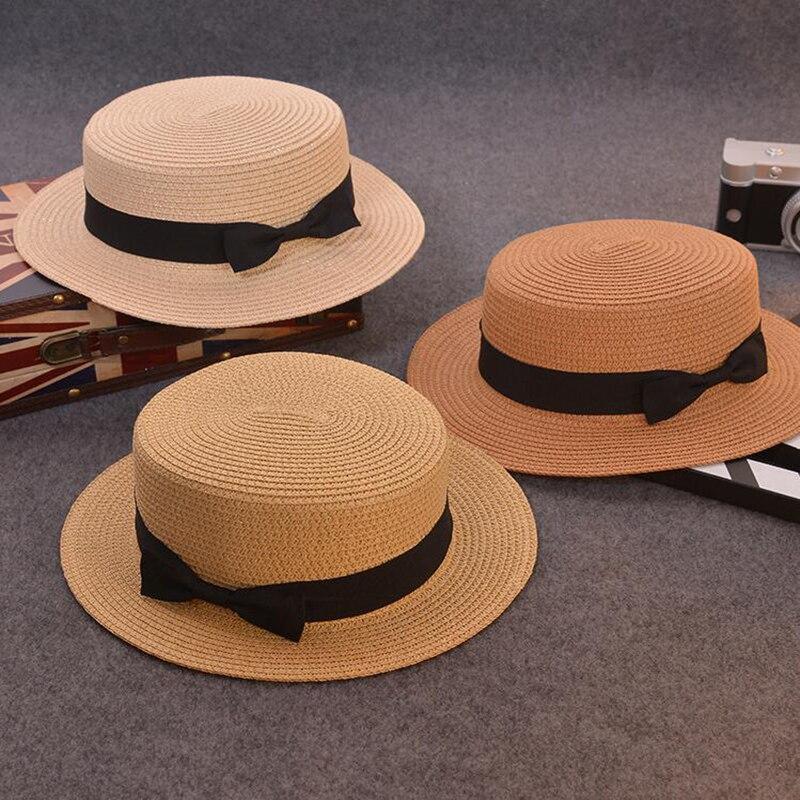 Moda pai-filho chapéu de sol bonito crianças chapéus de sol arco feito à mão feminino palha boné praia grande borda chapéu casual glris verão boné