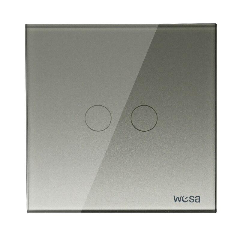 2019 nuevo diseño Interruptor táctil de pared estándar de la UE interruptor de cristal gris de lujo, CMW-02 de interruptor de 2 Gang 1 Way Interruptor de pared estándar UE/Reino Unido, Interruptor táctil de Luz 2 Gang 1 Way AC110V 220V Interruptor táctil de pared