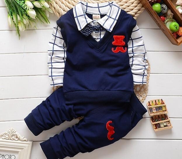 Fashion New Spring&Autumn Baby Boy Clothes Set Vest Tie Plaid Blouse+Pant Suit Kids Boys Clothing Set Children Boy Gentleman