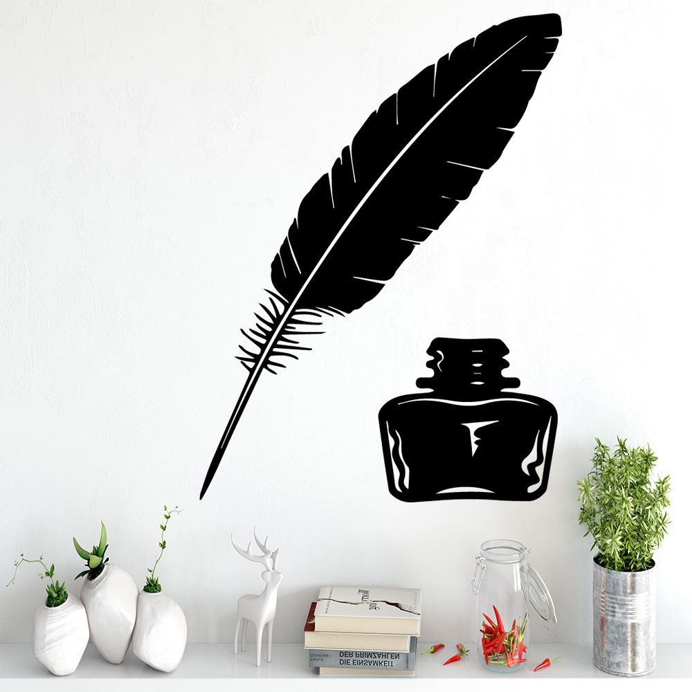 Hot Ink bottle feather Wall Sticker Self Adhesive Vinyl Waterproof Wall Art Decal For Kids Rooms Sticker Mural