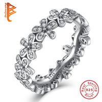 Genuine 925 Sterling Silver Daisy Meadow Stackable Bouquet Rings With Cubic Zircon For Women Ring Famous