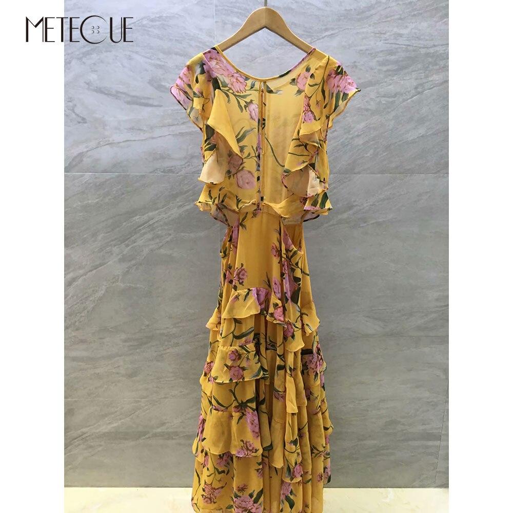 100 Silk Cold Shoulder Dress 2019 Pre Fall Fashion Long Sleeve Maxi Floral Dress 2019 Autumn