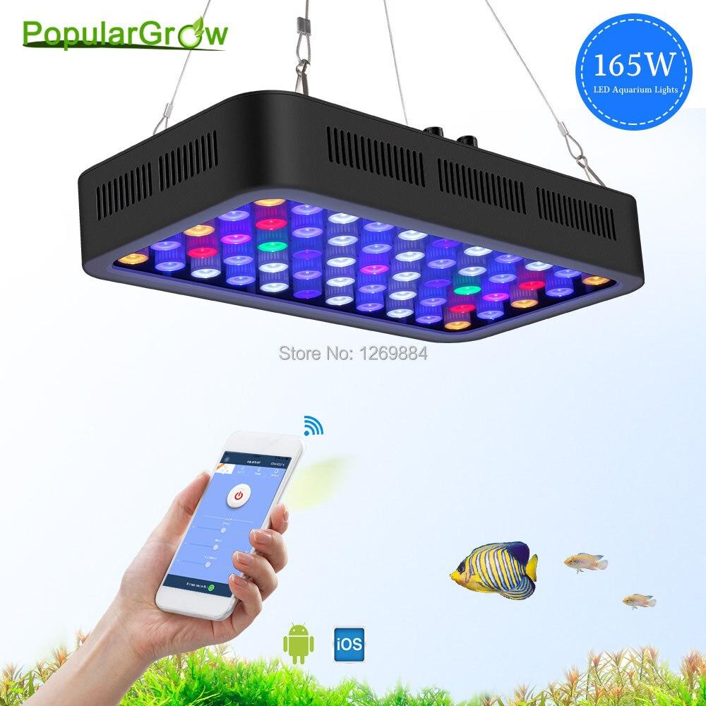 Populargrow 165 w WIFI Dimmable LED Aquarium Lumière marine lumière aquarium a mené la lampe d'éclairage pour des poissons des récifs coralliens