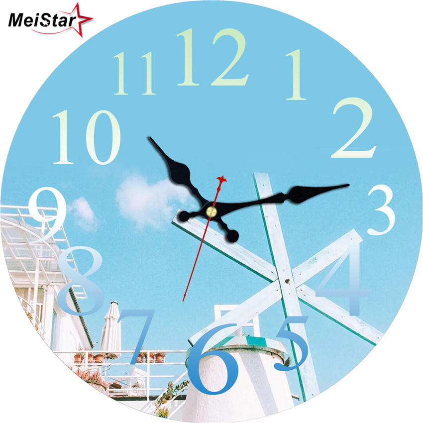 MEISTAR Vintage Round Clock Blue Sky Design Silent Living Corridor Kitchen Home Decor Watches Retro Large Art Wall 2018