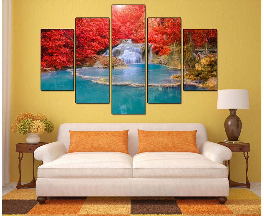 5 Panel Wall Art Canvas Landscape Lukisan Red Maple Leaf Forest Wall - Hiasan rumah - Foto 2