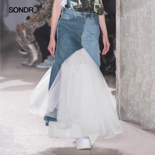 SONDR Spring 2019 new denim hemlines with pleated mesh splicing fairy skirts for women spring/summer fishtail