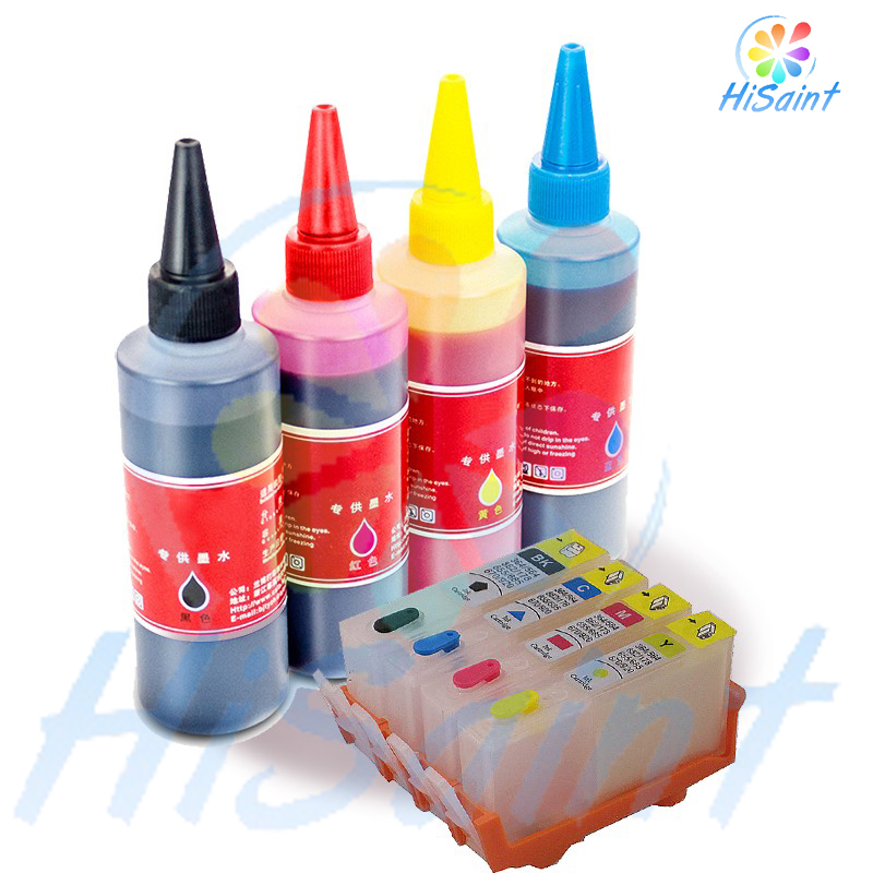 For HP 655 Refillable ink cartridge for HP Deskjet3525/4615/4625/5525/6520/6525 for hp Dey ink bottle 4 color Universal 400ML compatible ciss for hp655 hp 655 for hp deskjet 4615 4625 3525 5525 with ink level chip