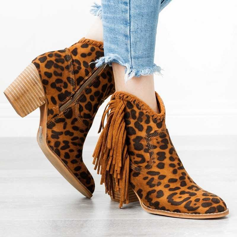 Oeak Bohemian Boho Heel Boot Ethnic Women Tassel Fringe Faux Suede cuero Botines mujer chica zapatos planos botines