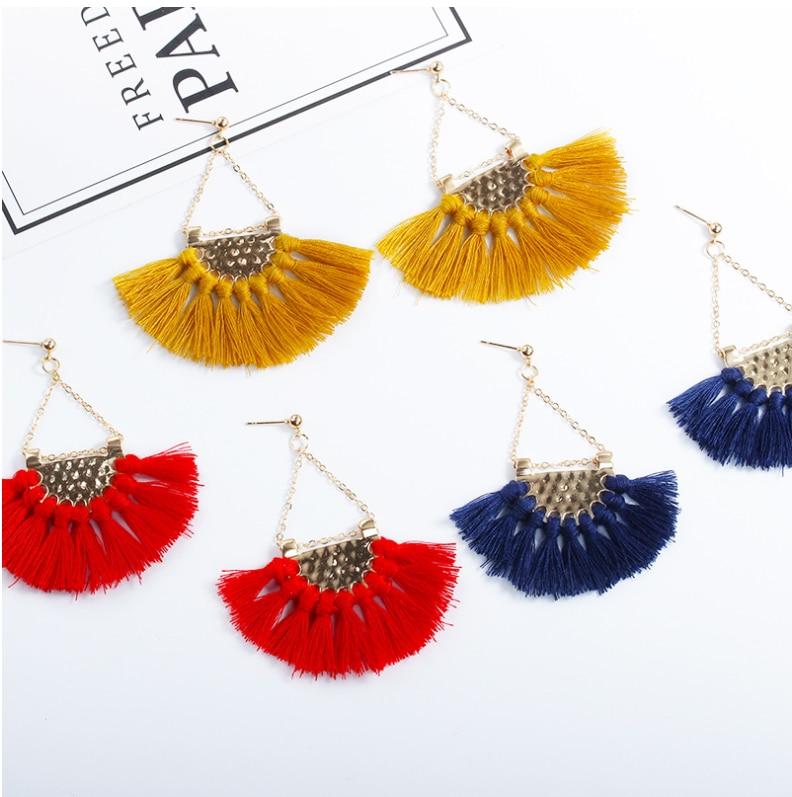 Этнический стиль Модные веерообразные серьги с кисточками в богемном стиле серьги ювелирные изделия