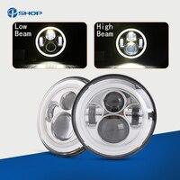 Pair For Harley JK Wrangler TJ 7 Inch Round LED Headlight White Halo Angel Eye DRL