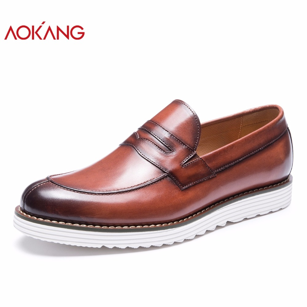 AOKANG Autumn men shoes leather genuine shoes man casual dress shoes loafers high quality slip on
