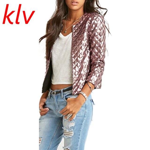 KLV/модные женские туфли Осень ромб Блёстки тонкий Курточка бомбер Винтаж на молнии Байкер стильный мягкий с круглым вырезом пальто Блуза Топ