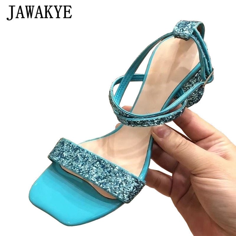 Sequined Sandals Women Crossover Buckle Strap Summer Shoes sweet BingBing Crystal Chunky High Heels Gladiator Sandals For womanSequined Sandals Women Crossover Buckle Strap Summer Shoes sweet BingBing Crystal Chunky High Heels Gladiator Sandals For woman