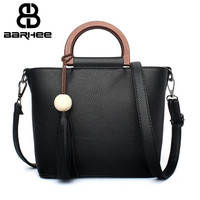 2017 Women Messenger Bags High Quality PU Leather Women's Shoulder Bag Wood Handle Crossbody Bags Famous Brand Ladies Handbag