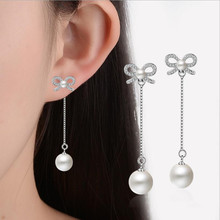 Everoyal Fashion 925 Sterling Silver Earrings For Women Accessories Trendy Girl Crystal Bowknot Pearl Jewelry