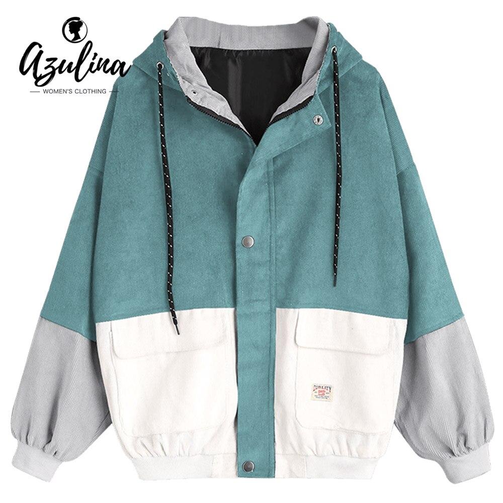 AZULINA Corduroy Jacket Hooded Pachwork Long Sleeve Autumn Basic Jackets Female Coat Zip Up Snap Button Windbreaker Jacket Women