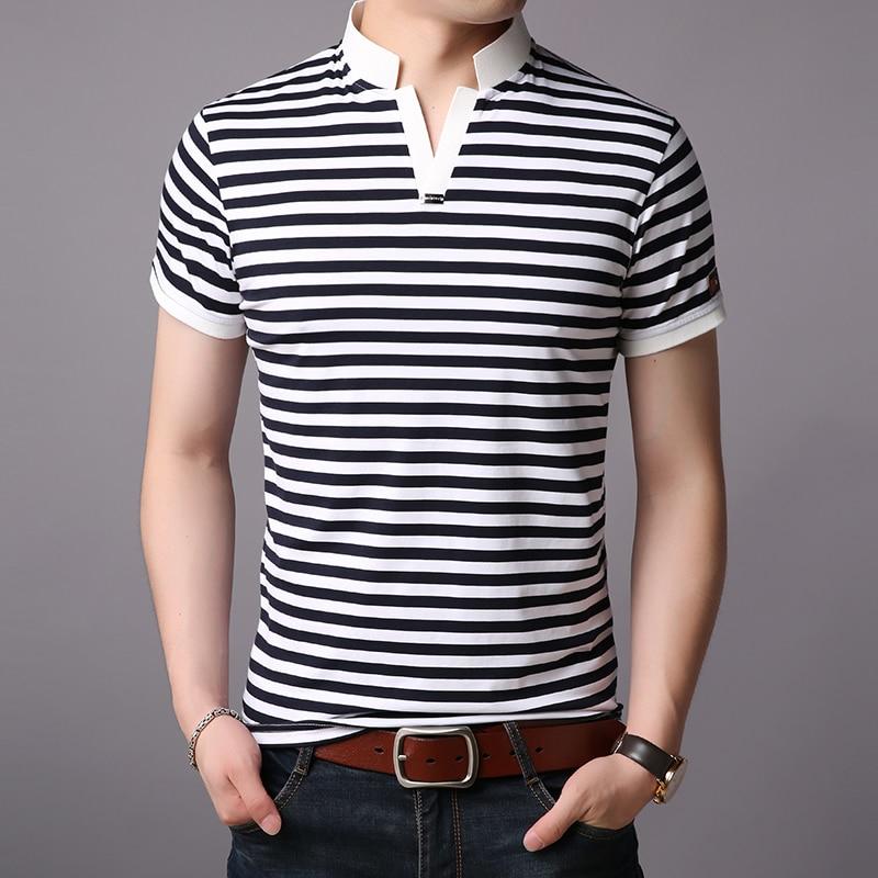 2019 New Fashions Brand Designer   Polo   Shirt Mens Striped Summer Slim Fit Short Sleeve Mandarin Collar   Polos   Casual Men Clothing