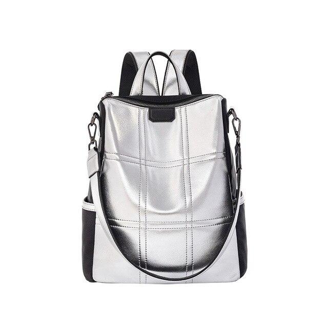 Bagaj ve Çantalar'ten Sırt Çantaları'de 2019 yaz marka yeni yüksek kalite gümüş PU deri bayan sırt çantası Çok geri su geçirmez büyük kapasiteli dayanıklı omuzdan askili çanta'da  Grup 1