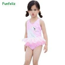 Funfeliz Swan Swimsuit for Girls 1-7Y Baby Girl Swimwear One Piece Skirted Cute Pink Kids Bathing Suit Children Swimming Suit цена
