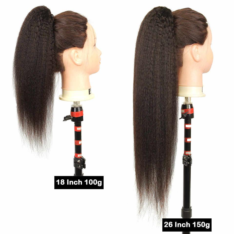 Yvonne бразильские кудрявые Прямые Шнурки прическа «конский хвост» клип в наращивание виргинские волосы 1 шт. натуральный цвет