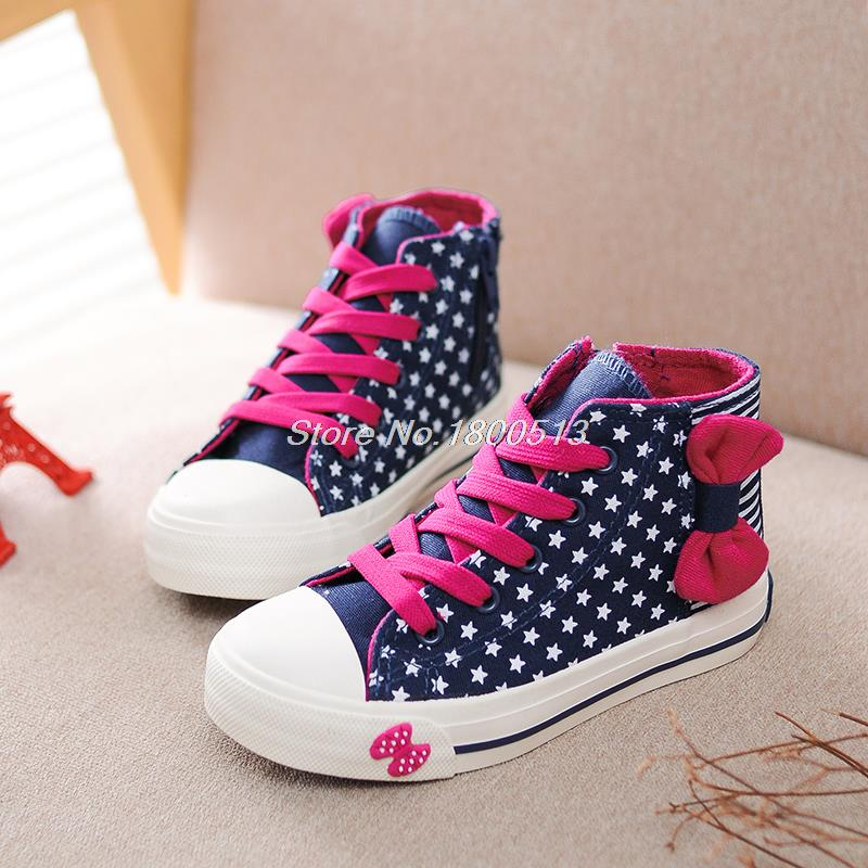 2015 New Arrival Girl Kids Canvas Shoes High Top Boots Children