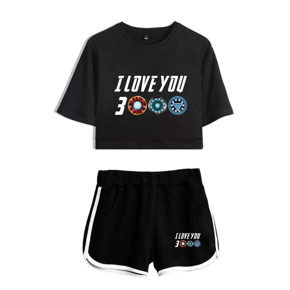 I Love You 3000 Two Piece Set Female Harajuku Summer T Shirts Crop Top Sexy Fitness Sporting Top 2019 2 Pcs Avengers Endgame