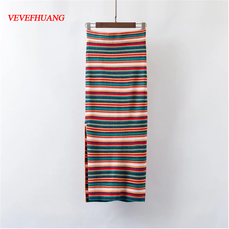Summer Women Skirts Casual Style Side Hem Ribbed Knit Striped Skirts Elegant Ankle-Length Suitable Bodycon Lady Party Vestidos