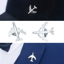 Silver European American Aircraft Brooch Jewelry Men  Pin Suit Collar Metal
