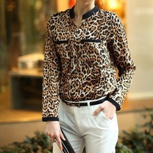 New Fashion 2015 Women Leopard Shirt Summer Fashion Long Sleeve Chiffon Casual Shirt High Quality Female Shirt Blouse  Kiss