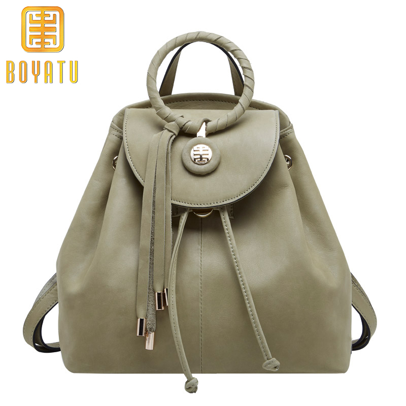 Luxury Genuine Leather Backpack Female Fashion Backpack Sac A Dos Vintage Shoulder Bags for Women 2018 High Quality new fashion women bag messenger double shoulder bags designer backpack high quality nylon female backpack bolsas sac a dos