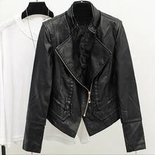 Female Brand Clothing Hot Fashion Women Autos Biker Air Leather Jackets Street Wear Short PU Ladies
