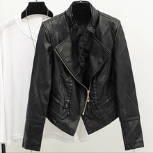 Female Brand Clothing Hot Fashion Women Autos Biker Air Leather Jackets Street Wear Short PU Ladies Coats Mandarin Collar C439