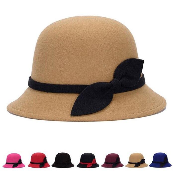 Fashion Cloche Bucket Vintage Cap Felt Bowler Hats 1 Pcs Warm Retro Hat With Leaves Bow 1 Pcs Cute Fashion Vintage Ladies Women