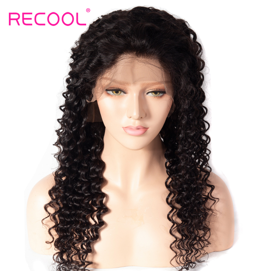 Recool Deep Wave Wig 13x6 Lace Front Human Hair Wigs Pre Plucked Brazilian Frontal Lace Wig