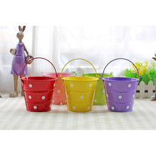 2018 new European pastoral style candy color dot small iron bucket gardening flower arranger photo decoration drop shipping