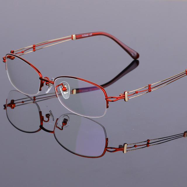 Das Mulheres novas da Moda Armações de óculos de Titânio Óculos Sem Aro Metade Quadros Limpar Lenes Oculos de grau RS-929 55-17-140mm 4 Cor