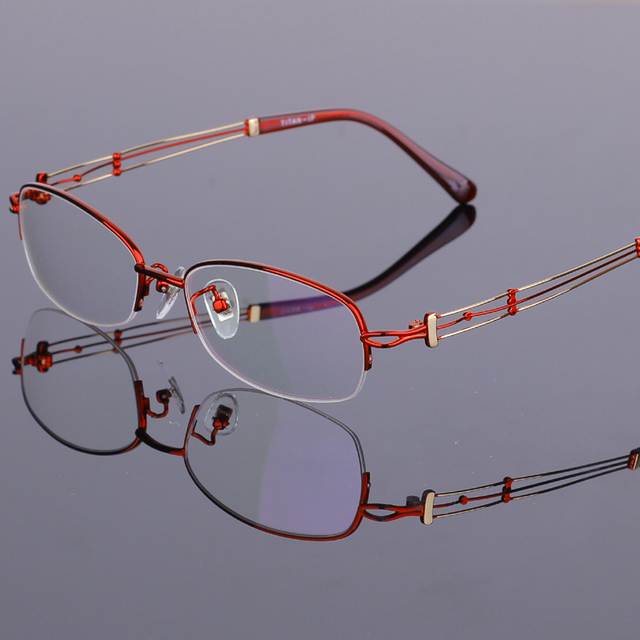 New Fashion Women's Eyeglass Frames Titanium Half Rimless Glasses Frames Clear Lenes Oculos De Grau 55-17-140mm 4 Color RS-929