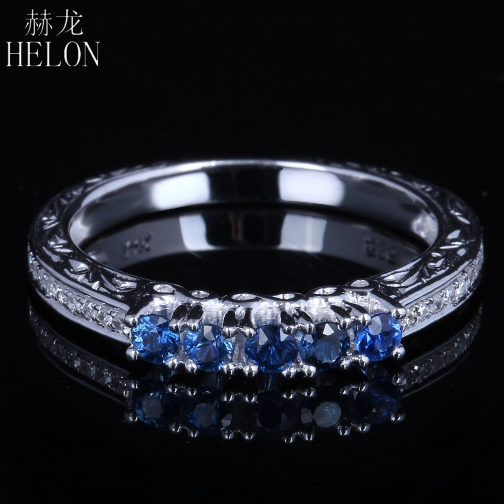 HELON Solid 10K White Gold Round Natural 0.45ct Diamond & Sapphire Engagement Wedding Classic Fine Jewelry Gemstone Ring BandHELON Solid 10K White Gold Round Natural 0.45ct Diamond & Sapphire Engagement Wedding Classic Fine Jewelry Gemstone Ring Band