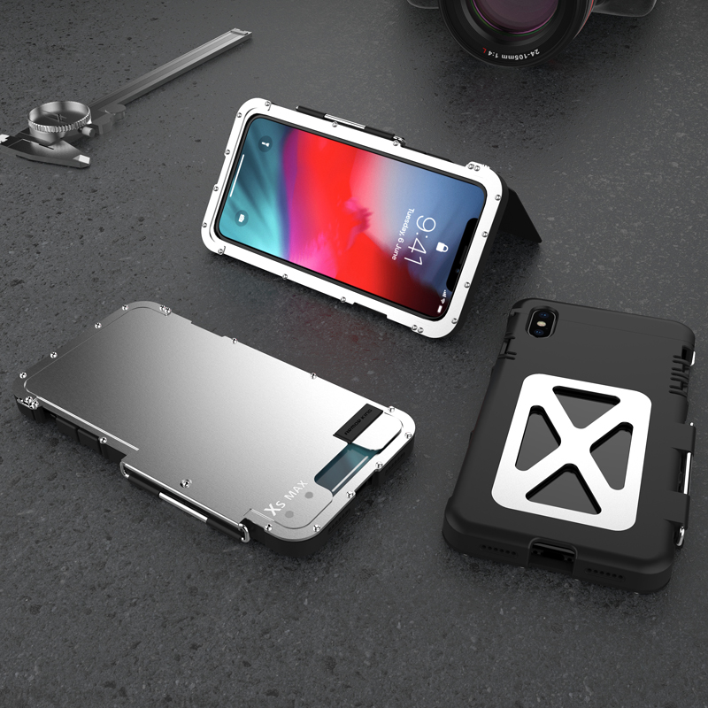 Original Phone Case For iPhone XS MAX Cover Luxury Steel Metal Flip Case For iPhone X